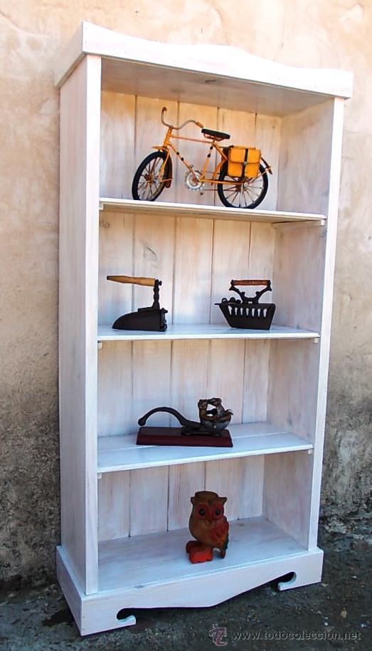 Estanteria de madera blanca 120 cm alta 55 cm comprar muebles vintage en todocoleccion - Muebles estanterias de madera ...