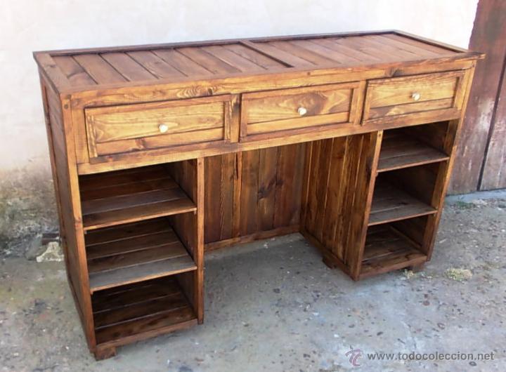 Mostrador de madera tienda mueble 160 cm de a comprar for Muebles con cajones de madera
