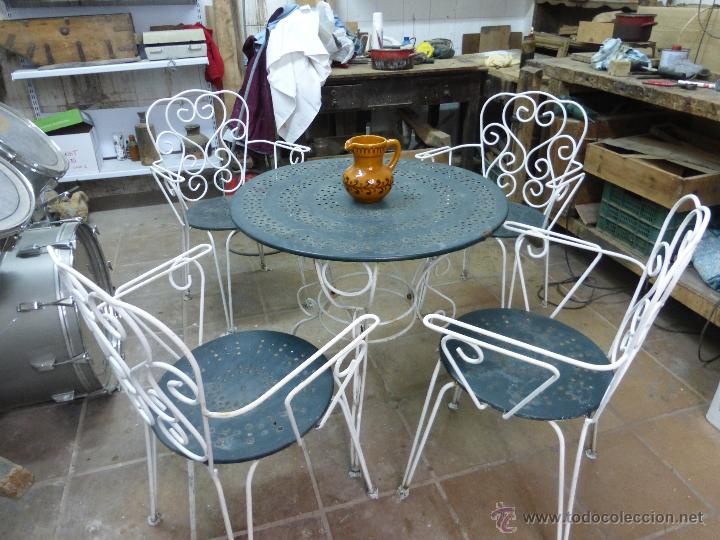 antiguo conjunto de mesa y 4 sillas de jardin o - Comprar ... - photo#37