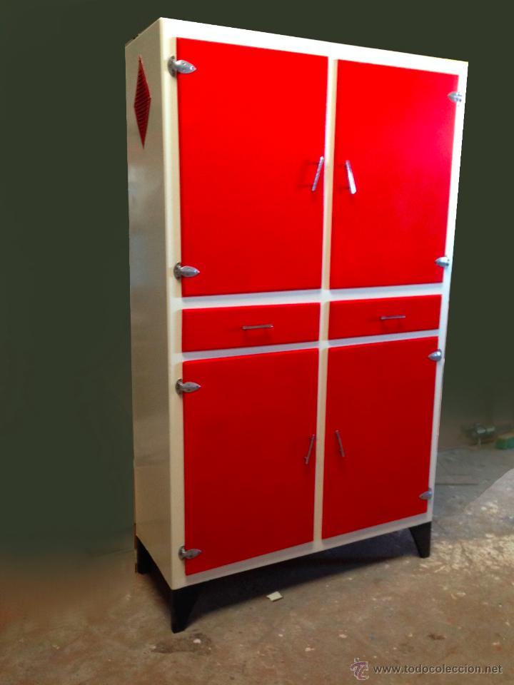 Armario alacena fresquera cocina rojo vintage r comprar for Muebles de cocina anos 80
