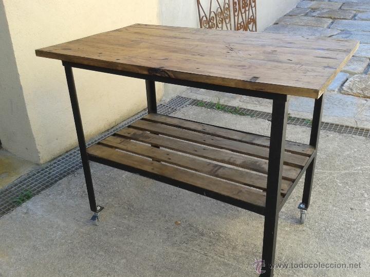 Mesa de oficio en madera de pino y estructura m comprar - Estructuras para mesas ...