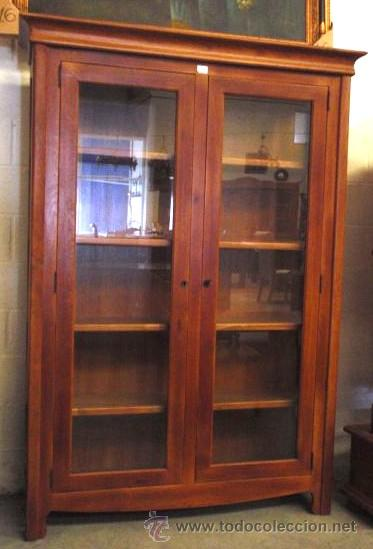 Mueble vitrina librer a en madera de roble comprar for Mueble vitrina
