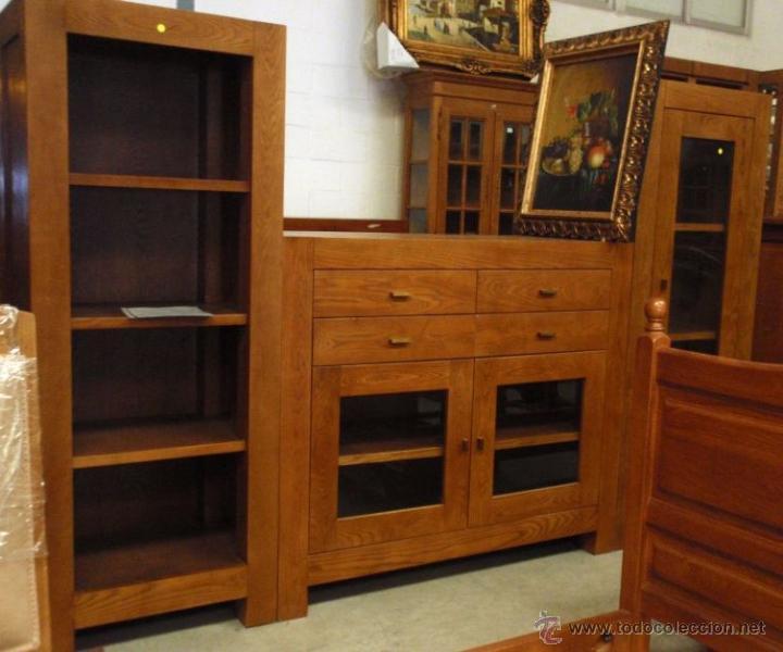 Mueble en madera de roble de 3 m dulos librero comprar muebles vintage en todocoleccion - Modulos de madera ...