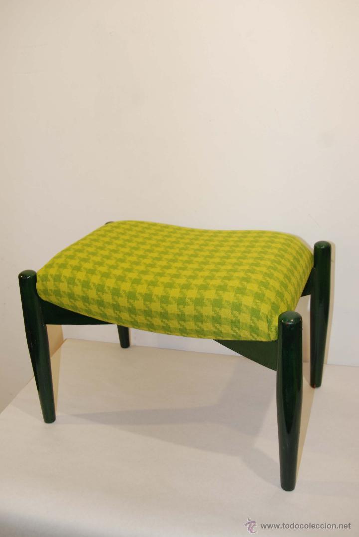 escabel de madera en verde con tapizado en pata - Comprar Muebles ...