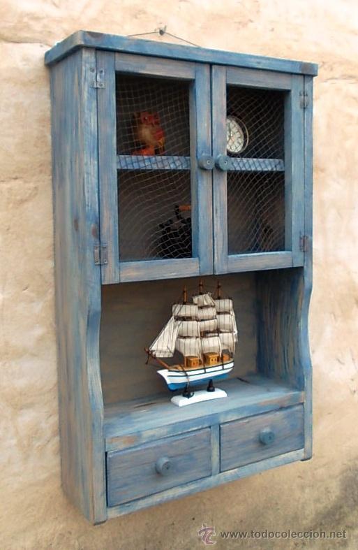 Mueble alacena de madera azul vintage mue36 comprar for Muebles restaurados vintage