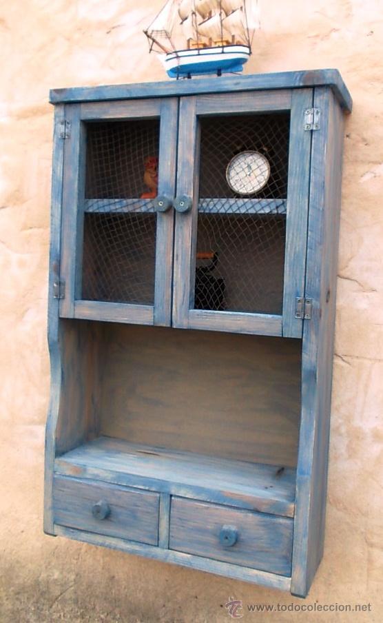 Mueble alacena de madera azul vintage mue36 comprar muebles vintage en todocoleccion - Alacena de madera ...