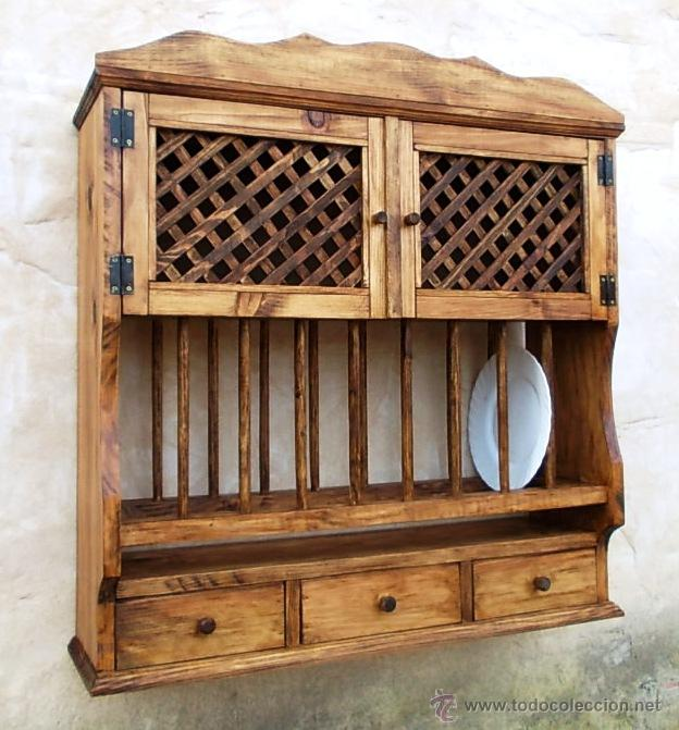 Platero de madera maciza rustico con escurrepla comprar for Mueble platero para cocina