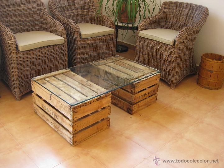 Lote 2 cajas madera naranjas antiguas ideal mes comprar for Muebles con cajas de madera