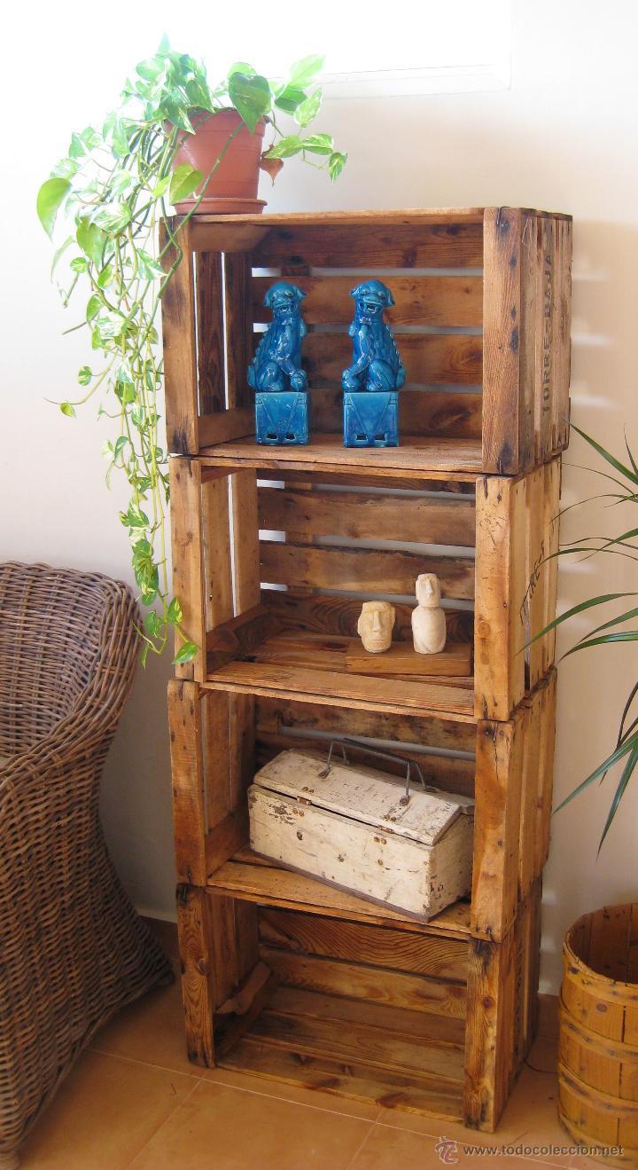 estanteria libreria diseo tipo decoracion industrial con cajas antiguas madera