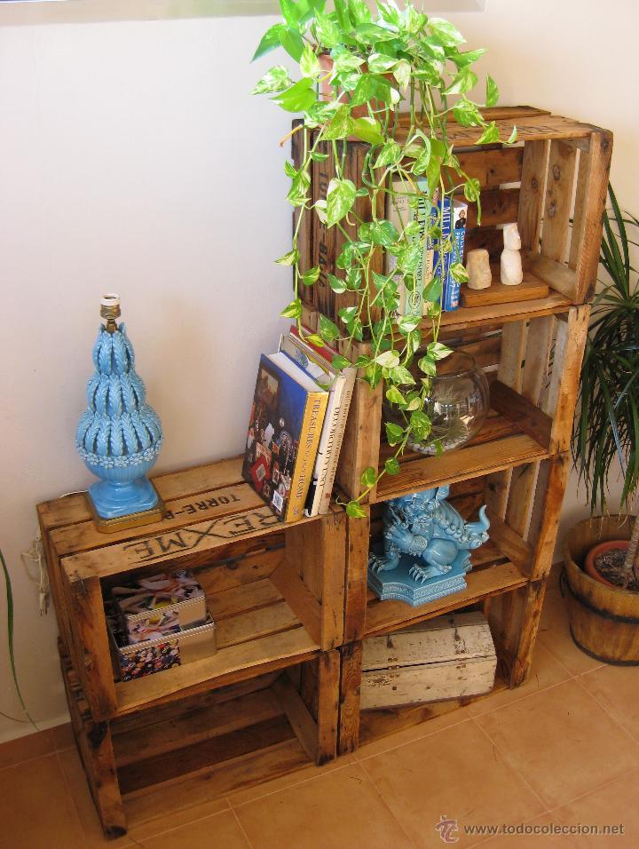 gran estanteria libreria diseo tipo decoracion industrial con cajas antiguas madera vintage muebles