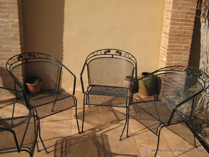 lote 4 sillas hierro forja jardin grandes años - Comprar Muebles ...