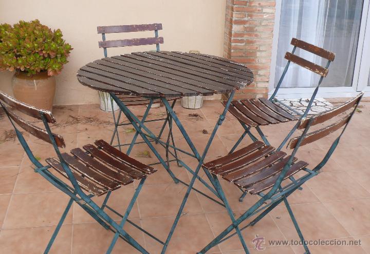 Sillas y mesa hierro y madera vintage ideal ext comprar for Mesas de terraza plegables