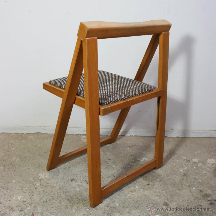 Silla plegable de madera a os 60 comprar muebles vintage - Sillas anos 60 ...