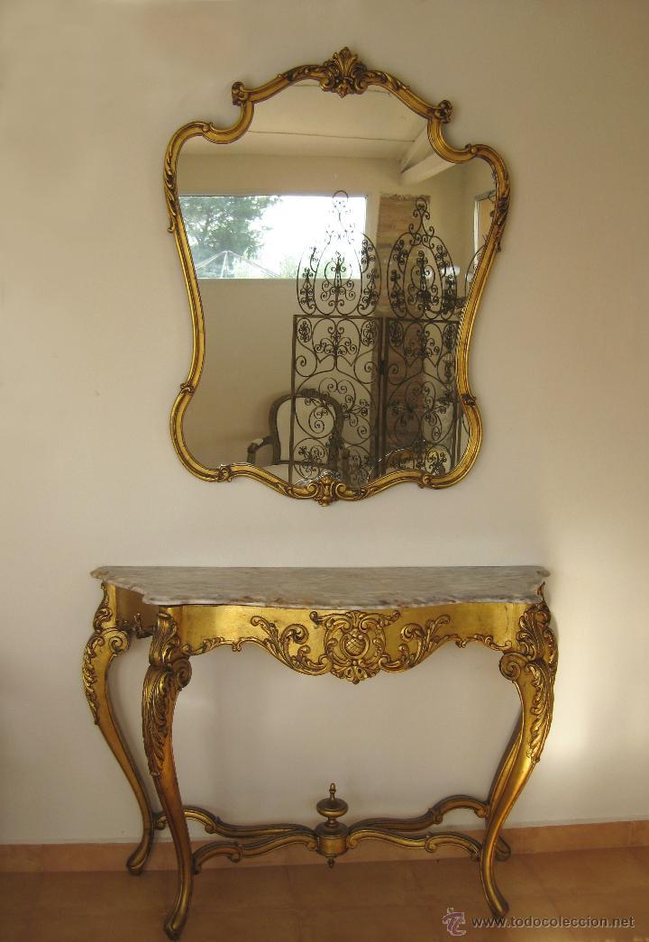 Aparador grande mueble recibidor con espejo dor comprar muebles vintage en todocoleccion - Mueble recibidor madera ...