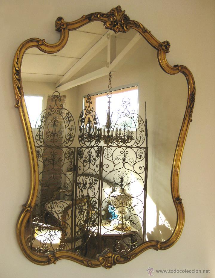 Aparador grande mueble recibidor con espejo dor comprar for Espejo dorado grande