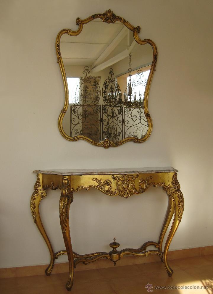 Aparador grande mueble recibidor con espejo dor comprar for Mueble recibidor vintage