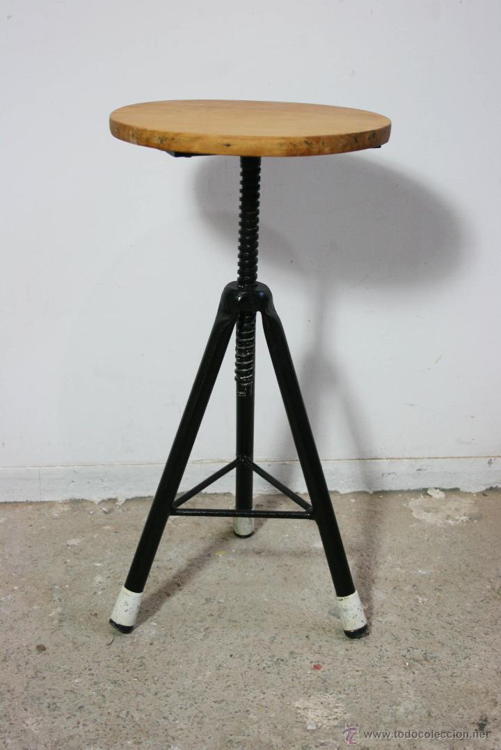 Taburete Para Taller.Antiguo Taburete Giratorio Industrial Taller Vendido En