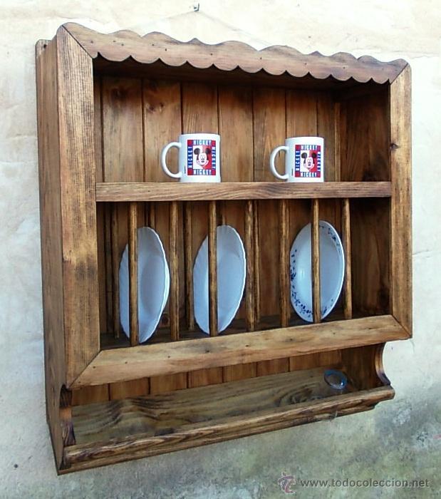 Platero artesanal en madera maciza con ondas m comprar for Mueble platero