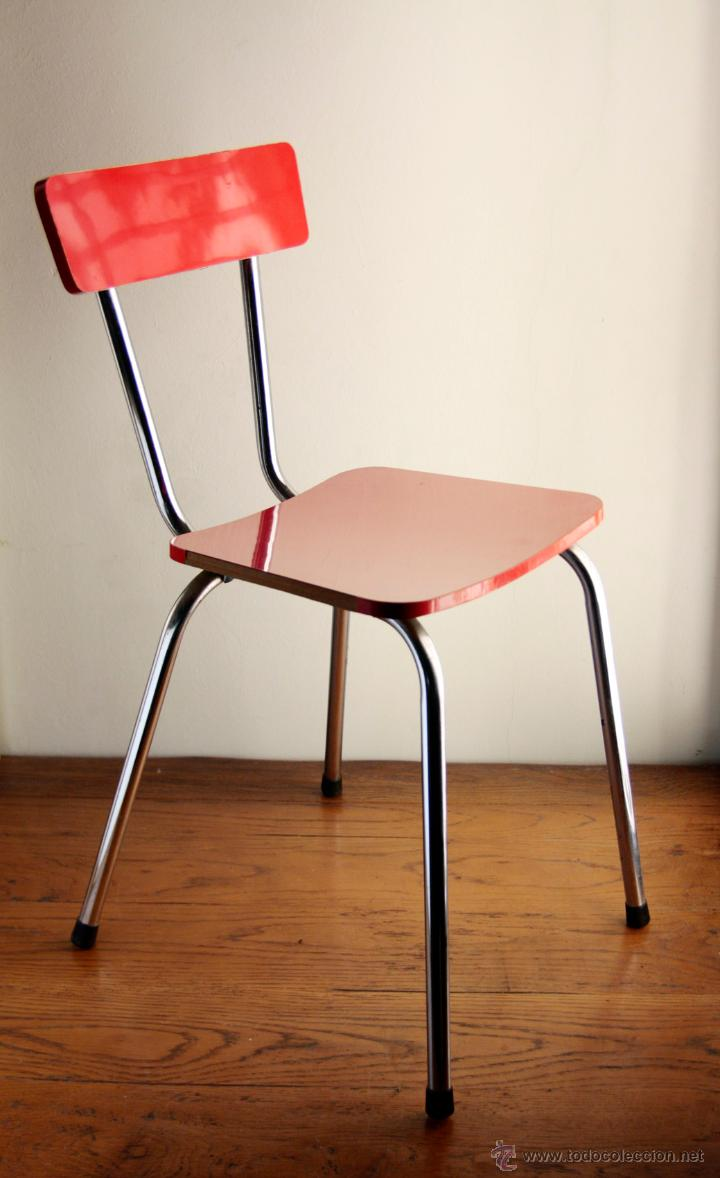 6 silla vintage formica rojo cromado cocina ret comprar muebles vintage en todocoleccion - Sillas formica ...