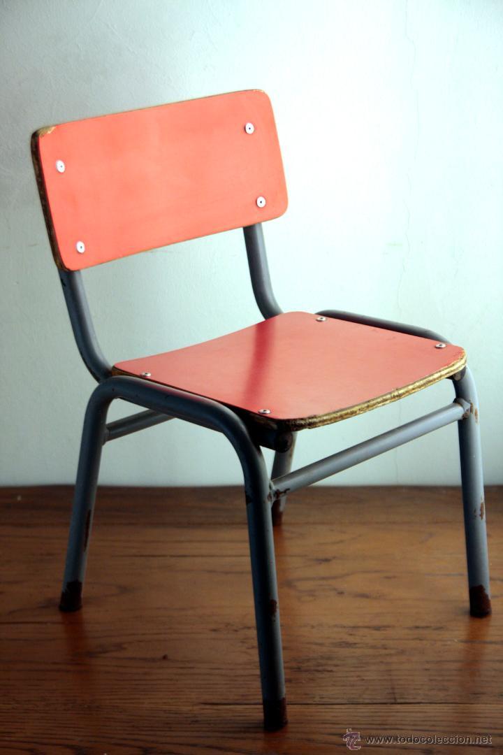 Silla infantil escuela formica rojo espa a 70 39 s comprar muebles vintage en todocoleccion - Sillas formica ...