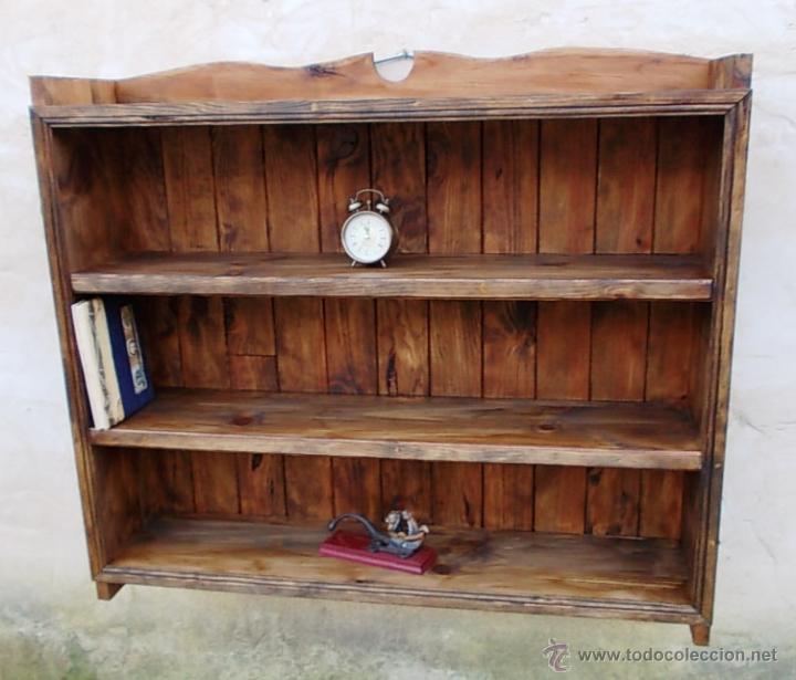 Libreria estanteria de madera mueble rustico comprar for Muebles vanitorios rusticos