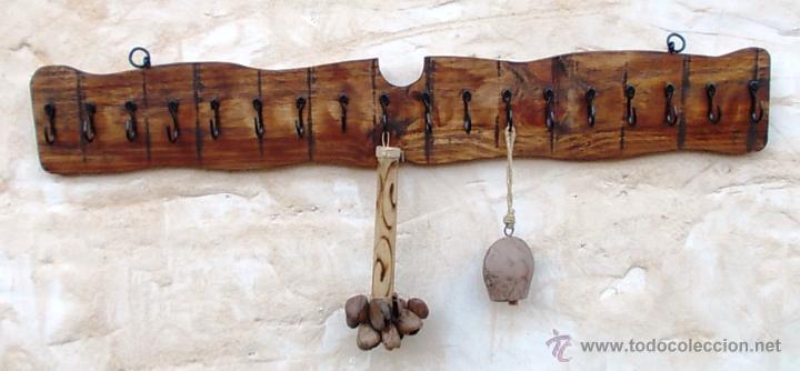 Perchero de 100 cm en madera rustico con 18 s comprar for Muebles industriales madera y hierro