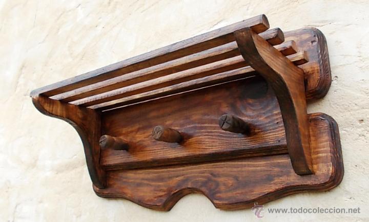 Perchero de madera con sombrerero mueble rusti comprar - Muebles rusticos de madera ...
