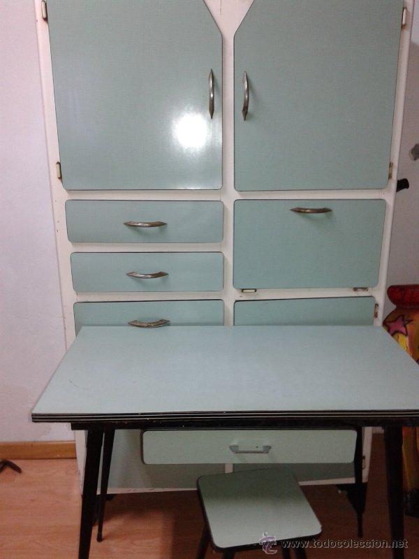 Chinero o alacena mesa y banco vintage comprar muebles - Mesa cocina vintage ...