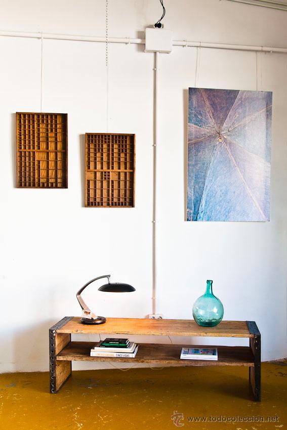 Mesa baja o mueble tv hierro y madera recupera comprar for Muebles tv vintage