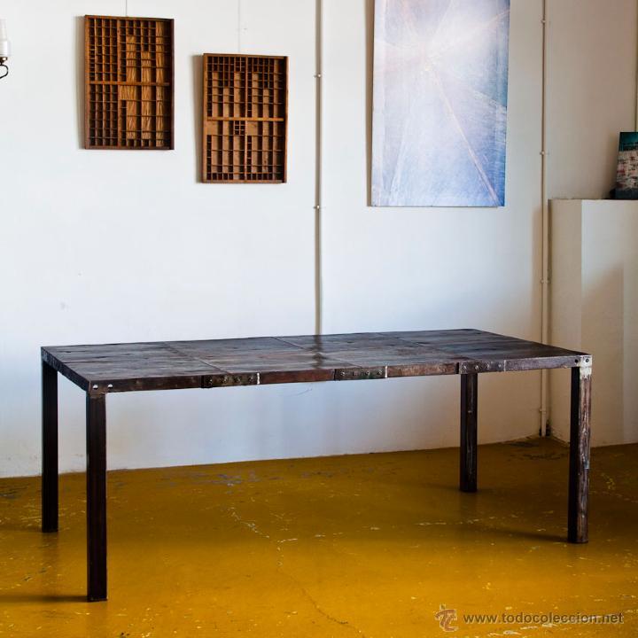 mesa de comedor de hierro, con planchas de enco - Kaufen Vintage ...