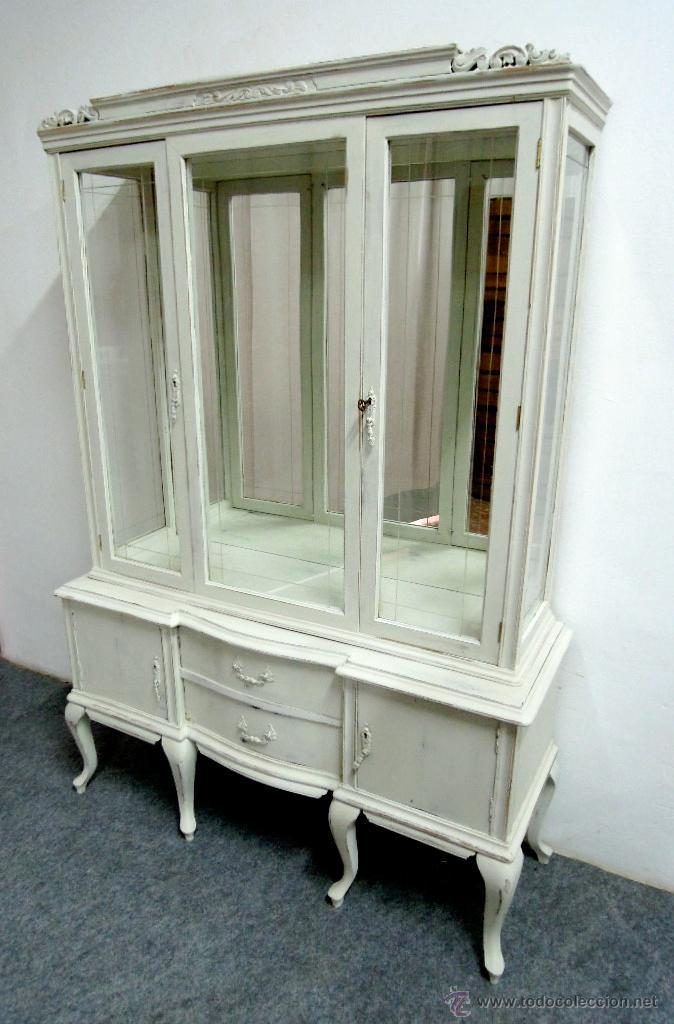 Muebles antiguos restaurados en blanco mesa en pino for Muebles restaurados en blanco