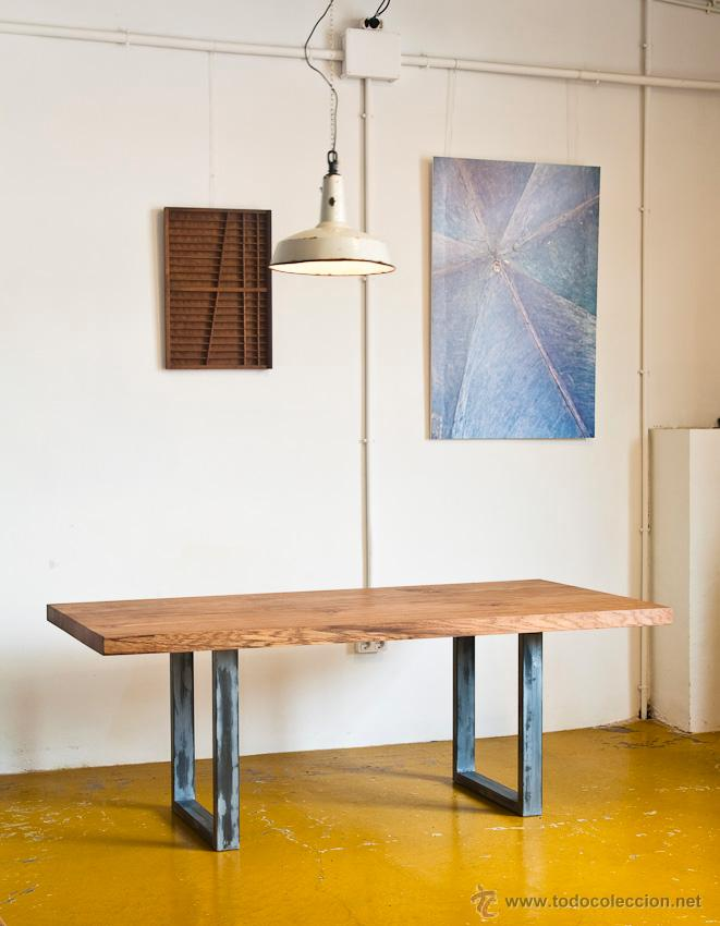 Mesa a medida de madera de roble y hierro comprar muebles vintage en todocoleccion 47574523 - Muebles de madera a medida ...