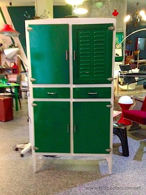 Mueble armario alacena fresquera cocina rojo vi comprar for Muebles de cocina anos 80