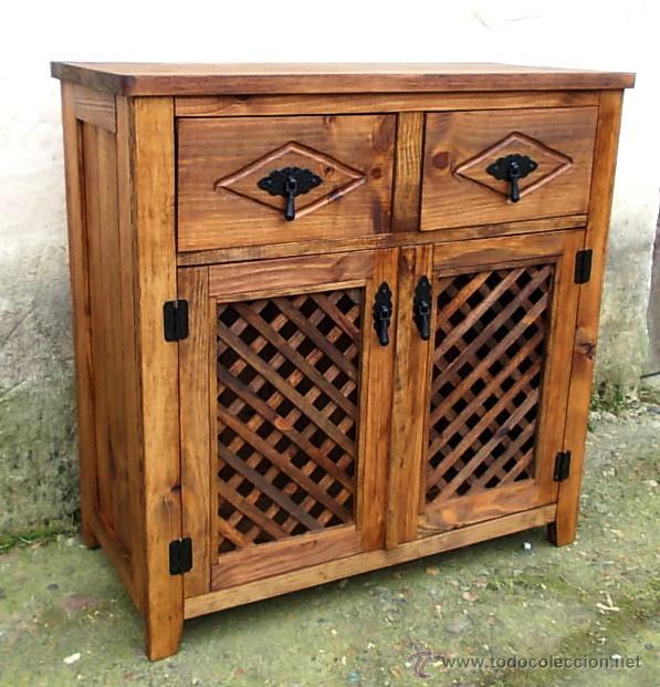 Mueble comoda de madera rustico con 2 cajones y comprar for Comoda mueble