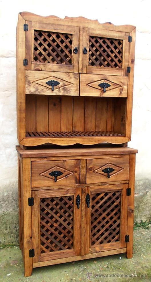 Mueble de madera alacena rustico con celosia c comprar for Muebles online vintage