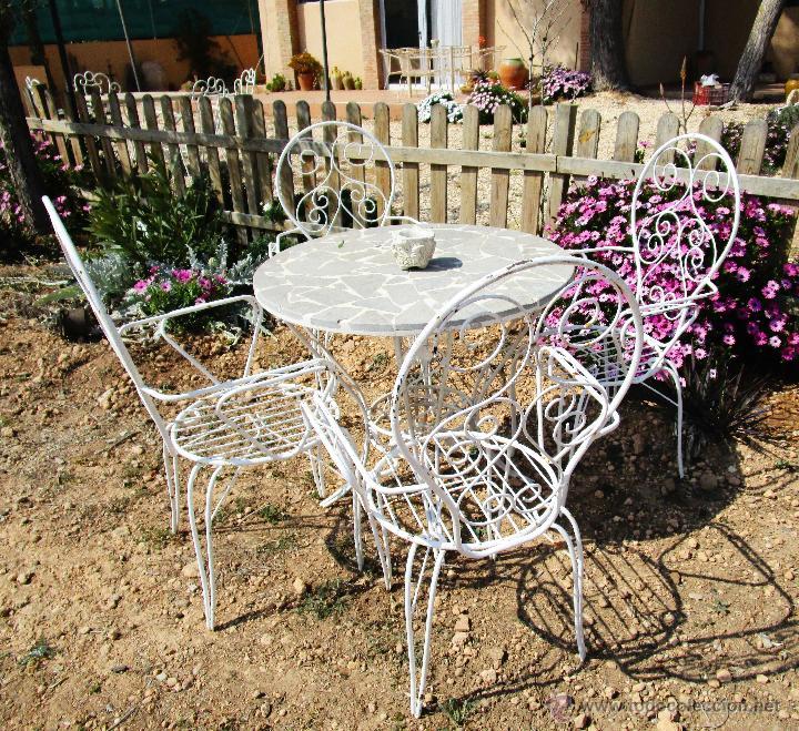 4 sillas antiguas vintage hierro ideal jardin e comprar for Sillas de jardin de hierro