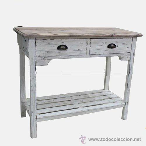 Mesa de madera blanca con 2 cajones y balda de comprar for Mueble entrada vintage