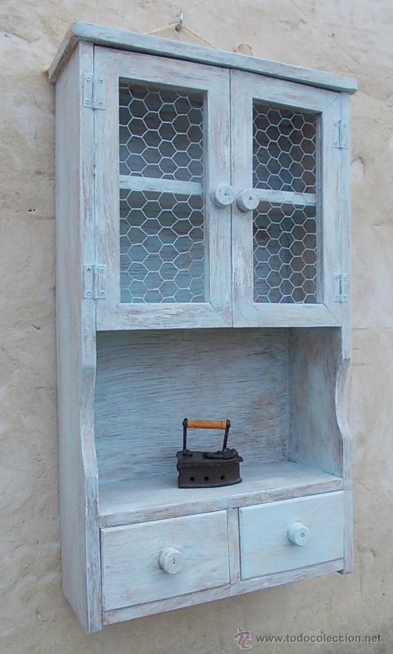 Mueble especiero de madera azulado de 2 puertas comprar - Muebles online vintage ...
