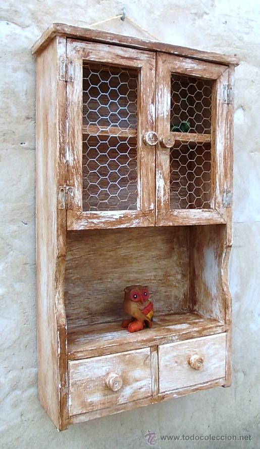 Mueble especiero de madera decapado vintage comprar for Muebles online vintage