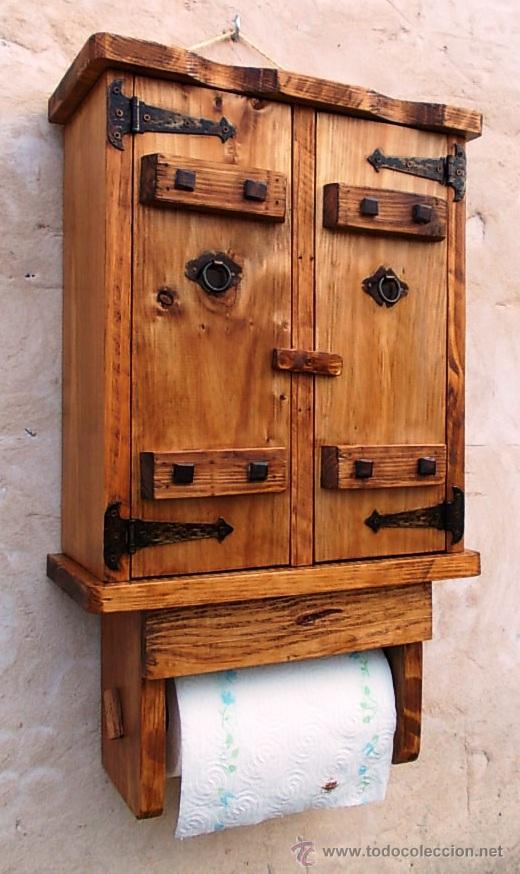 Especiero de madera con portarrollos de papel comprar for Muebles cocina rusticos segunda mano