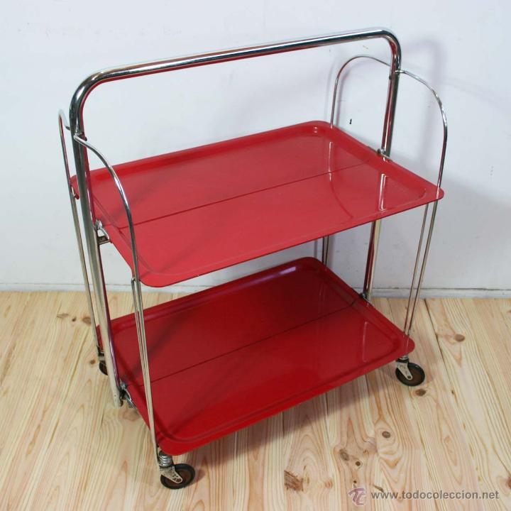 Mesa carro camarera plegable roja raquer comprar muebles for Mesa camarera plegable