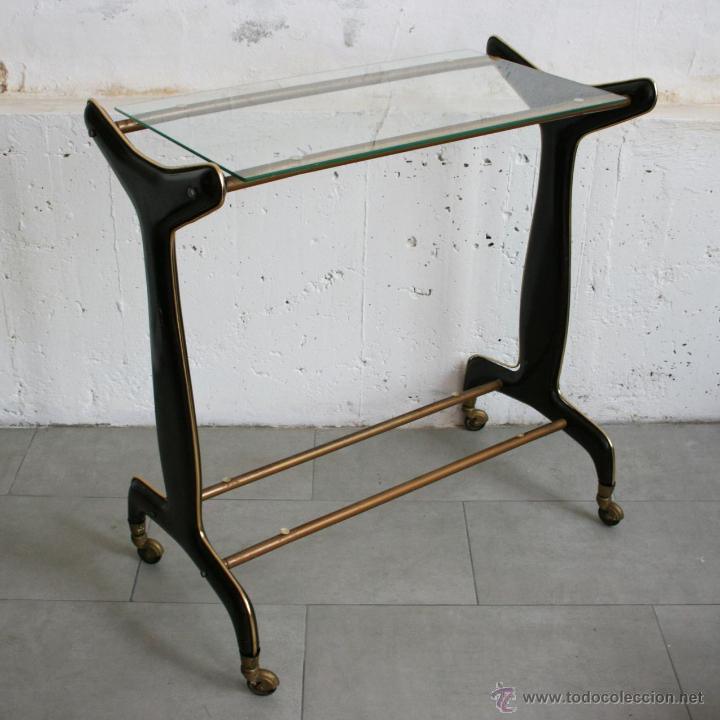 Mesa de recibidor hierro y madera reciclada hill - Mesita auxiliar con ruedas ...