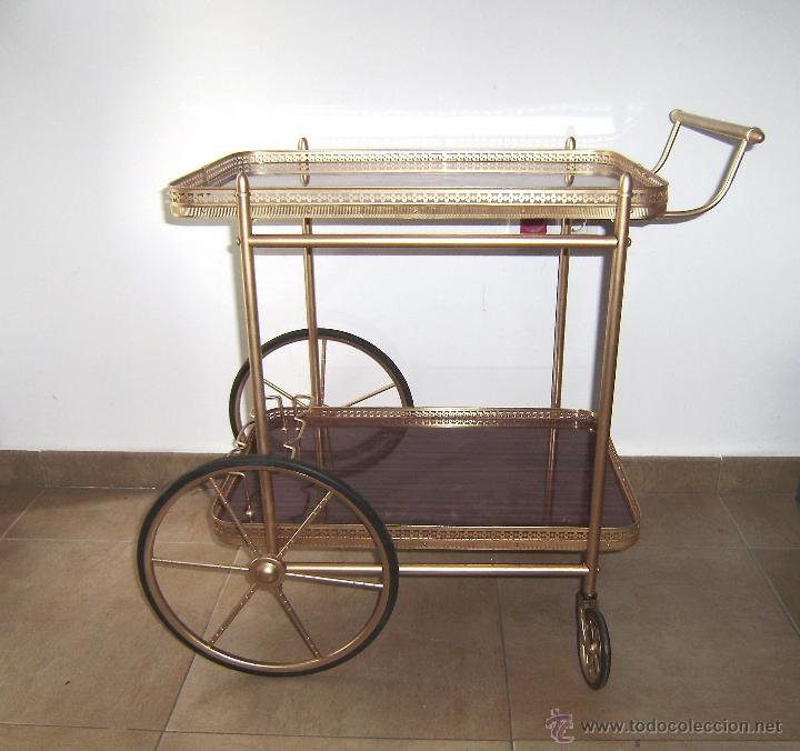 Mesa carrito camarera de hierro dorado comprar muebles for Carrito camarera carrefour