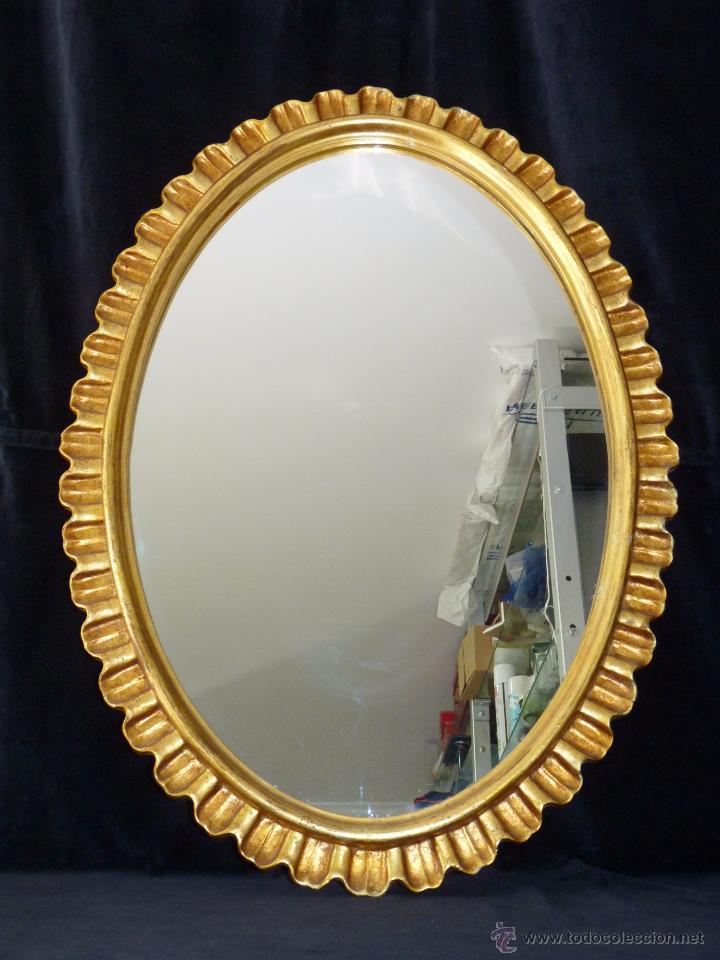 Antiguo espejo ovalado con moldura 88x56 cm do comprar for Molduras para espejos online