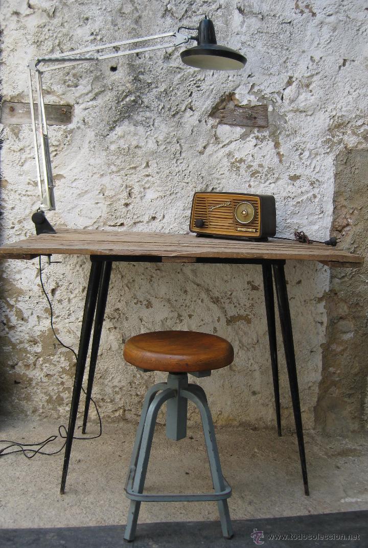 Silla taburete antigua industrial hierro forja comprar for Decoracion industrial online