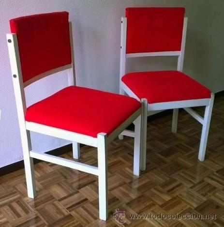 Pareja de 2 sillas de madera blanca y tapicer a comprar - Tapiceria de sillas ...