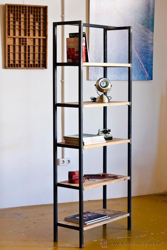 Librerias a medida estilo industrial hierro y comprar for Muebles de hierro y madera