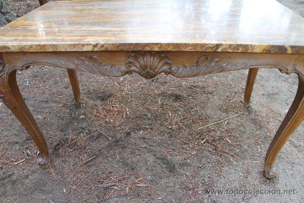 Mesa antigua de centro con preciosa placa de m comprar for Placas de marmol medidas