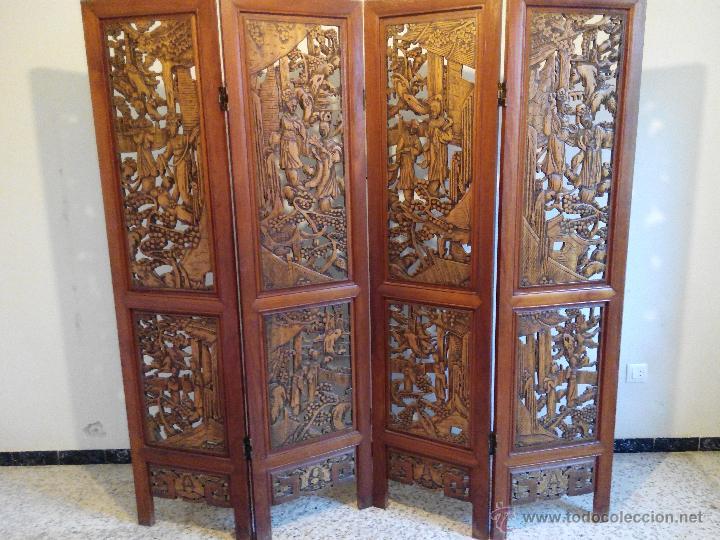 Biombo de madera tallada comprar muebles vintage en - Biombos de madera ...