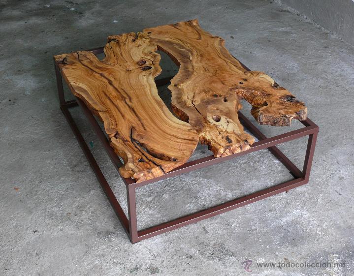Mesa de centro madera de olivo vintage indust comprar for Mesa de centro industrial